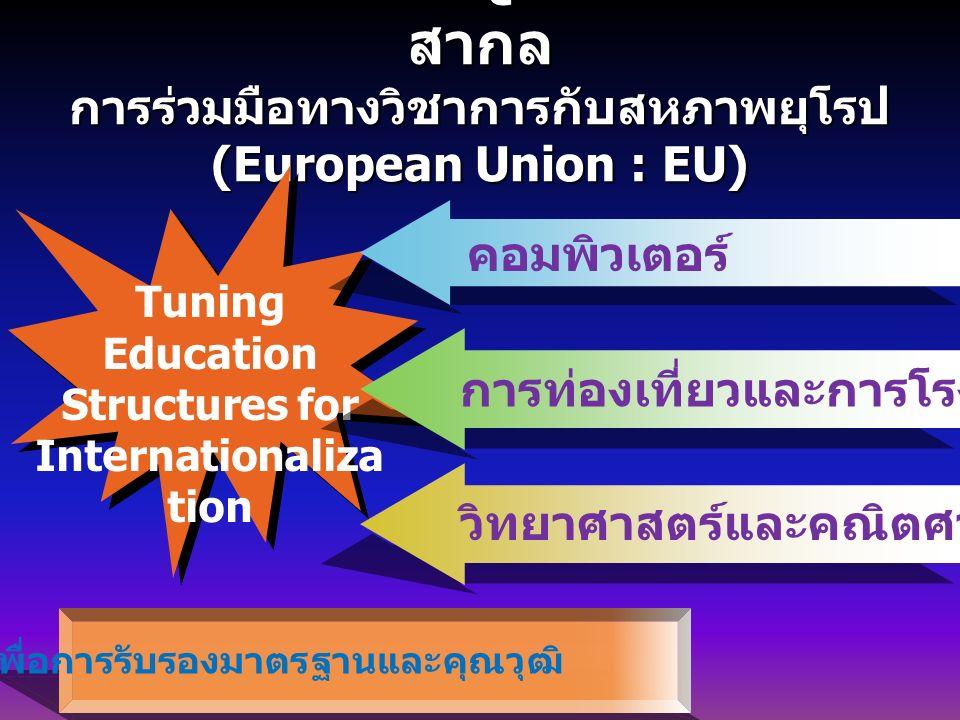 การเทียบเคียง TQF ในระดับสากล สากล การร่วมมือทางวิชาการกับสหภาพยุโรป (European Union : EU) Tuning Education Structures for Internationaliza tion เพื่อการรับรองมาตรฐานและคุณวุฒิ คอมพิวเตอร์ การท่องเที่ยวและการโรงแรม วิทยาศาสตร์และคณิตศาสตร์