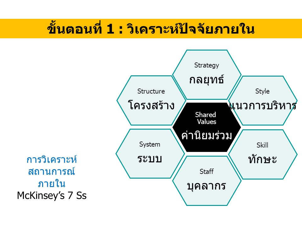 ขั้นตอนที่ 1 : วิเคราะห์ปัจจัยภายใน Shared Values ค่านิยมร่วม Strategy กลยุทธ์ Staff บุคลากร Structure โครงสร้าง System ระบบ Style แนวการบริหาร Skill ทักษะ การวิเคราะห์ สถานการณ์ ภายใน McKinsey's 7 Ss