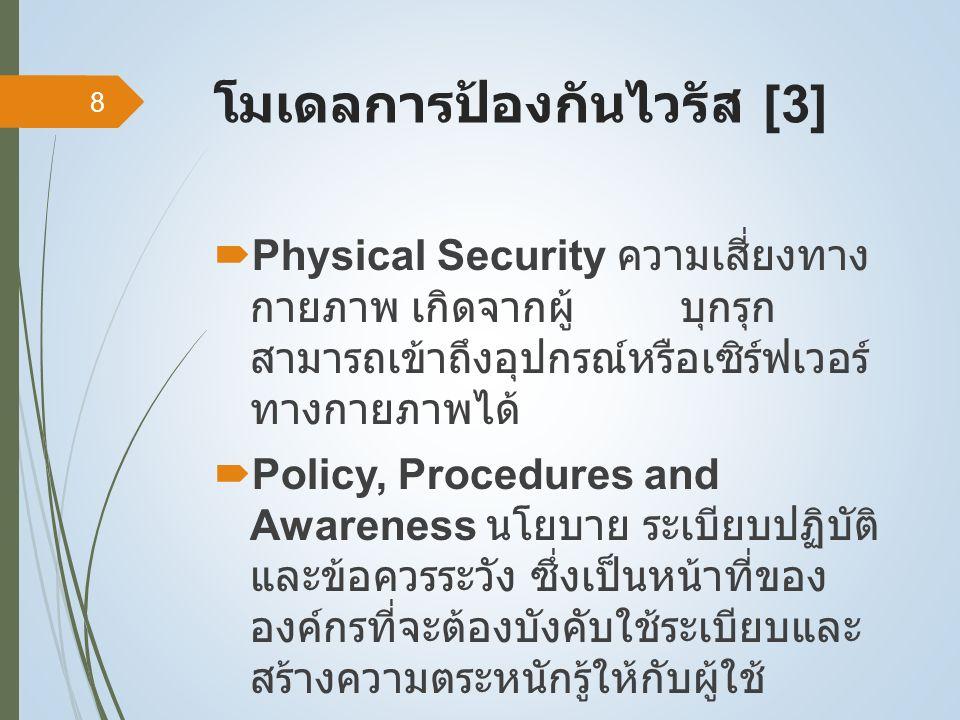 โมเดลการป้องกันไวรัส [3]  Physical Security ความเสี่ยงทาง กายภาพ เกิดจากผู้ บุกรุก สามารถเข้าถึงอุปกรณ์หรือเซิร์ฟเวอร์ ทางกายภาพได้  Policy, Procedures and Awareness นโยบาย ระเบียบปฏิบัติ และข้อควรระวัง ซึ่งเป็นหน้าที่ของ องค์กรที่จะต้องบังคับใช้ระเบียบและ สร้างความตระหนักรู้ให้กับผู้ใช้ 8