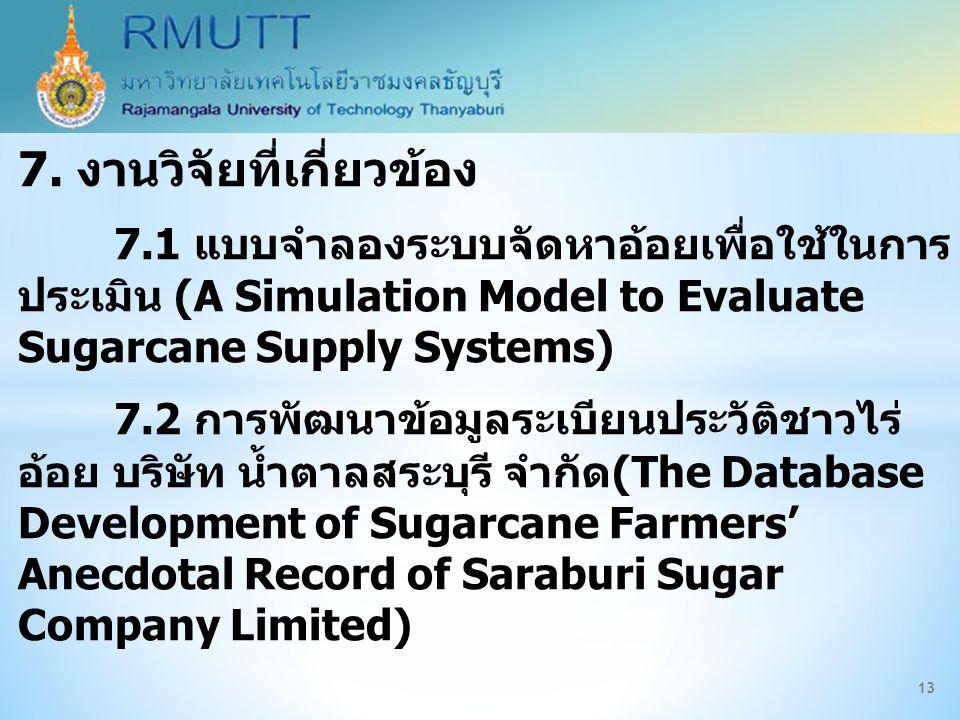 7. งานวิจัยที่เกี่ยวข้อง 7.1 แบบจำลองระบบจัดหาอ้อยเพื่อใช้ในการ ประเมิน (A Simulation Model to Evaluate Sugarcane Supply Systems) 7.2 การพัฒนาข้อมูลระ