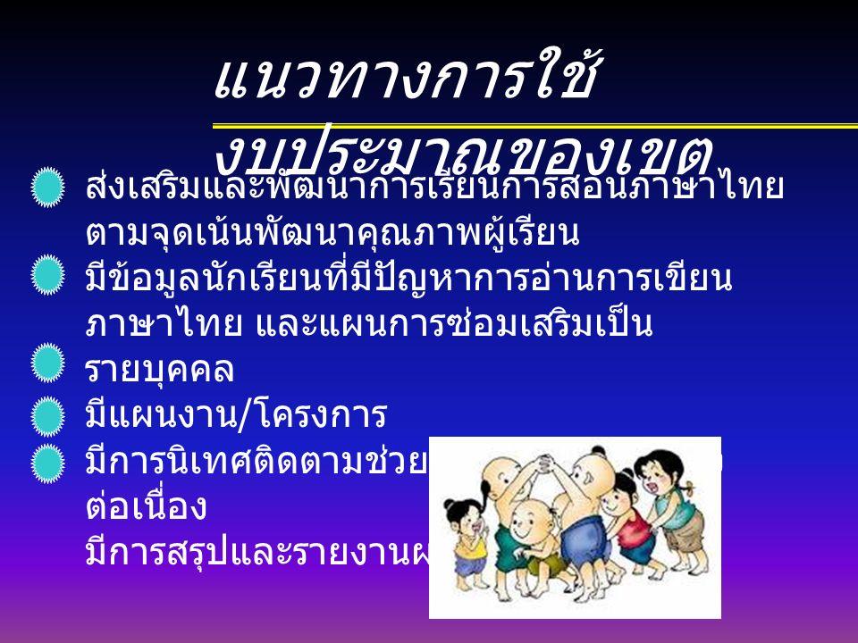 แนวทางการใช้ งบประมาณของเขต ส่งเสริมและพัฒนาการเรียนการสอนภาษาไทย ตามจุดเน้นพัฒนาคุณภาพผู้เรียน มีข้อมูลนักเรียนที่มีปัญหาการอ่านการเขียน ภาษาไทย และแผนการซ่อมเสริมเป็น รายบุคคล มีแผนงาน / โครงการ มีการนิเทศติดตามช่วยเหลือโรงเรียนอย่าง ต่อเนื่อง มีการสรุปและรายงานผล