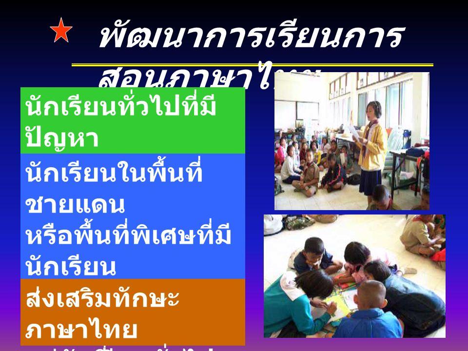 พัฒนาการเรียนการ สอนภาษาไทย นักเรียนทั่วไปที่มี ปัญหา การอ่านการเขียน ภาษาไทย นักเรียนในพื้นที่ ชายแดน หรือพื้นที่พิเศษที่มี นักเรียน ใช้ภาษาท้องถิ่น ( เช่น กระเหรี่ยง มอญ เขมร ฯลฯ ) ส่งเสริมทักษะ ภาษาไทย แก่นักเรียนทั่วไป
