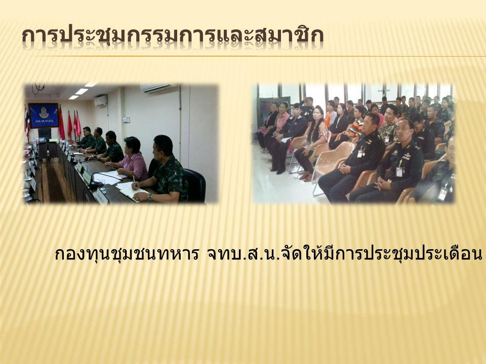 กองทุนชุมชนทหาร จทบ. ส. น. จัดให้มีการประชุมประเดือน และการประชุมใหญ่สามัญประจำปี