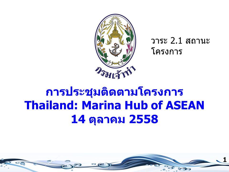 การประชุมติดตามโครงการ Thailand: Marina Hub of ASEAN 14 ตุลาคม 2558 1 วาระ 2.1 สถานะ โครงการ