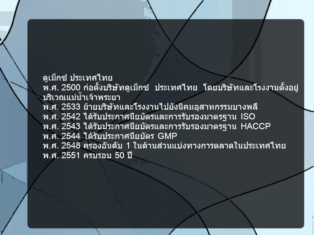 ดูเม็กซ์ ประเทศไทย พ. ศ. 2500 ก่อตั้งบริษัทดูเม็กซ์ ประเทศไทย โดยบริษัทและโรงงานตั้งอยู่ บริเวณแม่น้ำเจ้าพระยา พ. ศ. 2533 ย้ายบริษัทและโรงงานไปยังนิคม