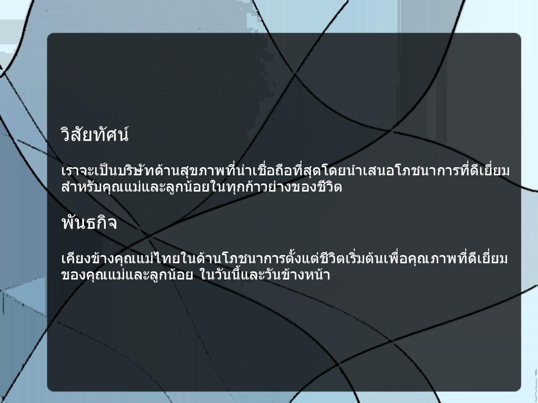 วิสัยทัศน์ เราจะเป็นบริษัทด้านสุขภาพที่น่าเชื่อถือที่สุดโดยนำเสนอโภชนาการที่ดีเยี่ยม สำหรับคุณแม่และลูกน้อยในทุกก้าวย่างของชีวิต พันธกิจ เคียงข้างคุณแม่ไทยในด้านโภชนาการตั้งแต่ชีวิตเริ่มต้นเพื่อคุณภาพที่ดีเยี่ยม ของคุณแม่และลูกน้อย ในวันนี้และวันข้างหน้า