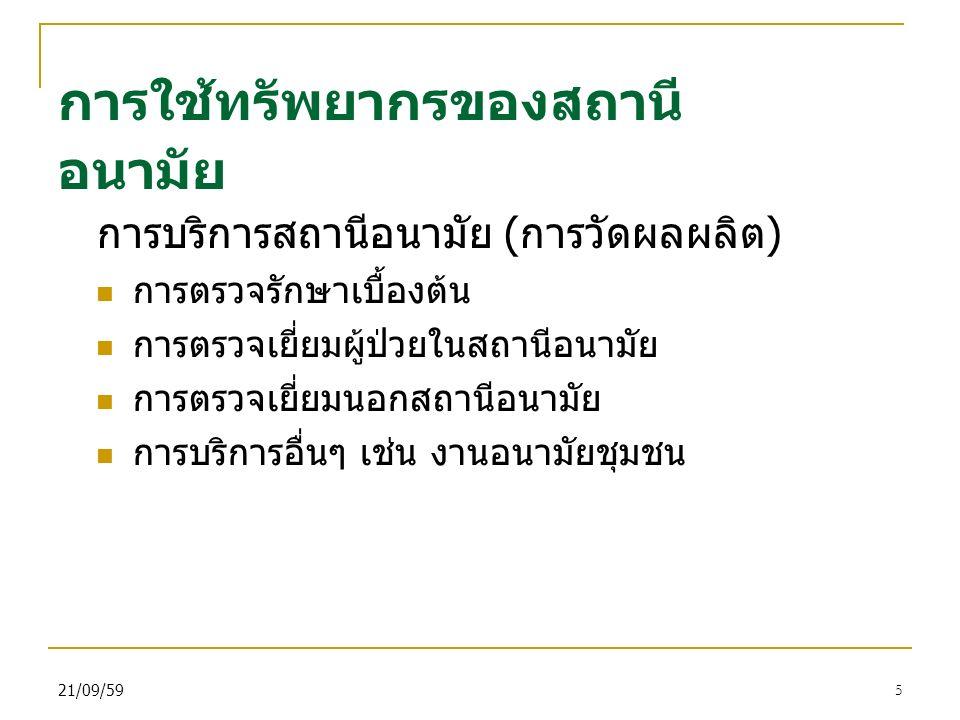 21/09/595 การใช้ทรัพยากรของสถานี อนามัย การบริการสถานีอนามัย ( การวัดผลผลิต ) การตรวจรักษาเบื้องต้น การตรวจเยี่ยมผู้ป่วยในสถานีอนามัย การตรวจเยี่ยมนอกสถานีอนามัย การบริการอื่นๆ เช่น งานอนามัยชุมชน