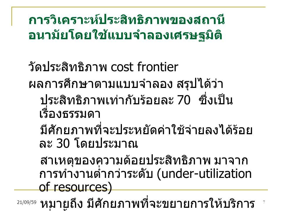 21/09/597 การวิเคราะห์ประสิทธิภาพของสถานี อนามัยโดยใช้แบบจำลองเศรษฐมิติ วัดประสิทธิภาพ cost frontier ผลการศึกษาตามแบบจำลอง สรุปได้ว่า ประสิทธิภาพเท่ากับร้อยละ 70 ซึ่งเป็น เรื่องธรรมดา มีศักยภาพที่จะประหยัดค่าใช้จ่ายลงได้ร้อย ละ 30 โดยประมาณ สาเหตุของความด้อยประสิทธิภาพ มาจาก การทำงานต่ำกว่าระดับ (under-utilization of resources) หมายถึง มีศักยภาพที่จะขยายการให้บริการ เพิ่มขึ้น