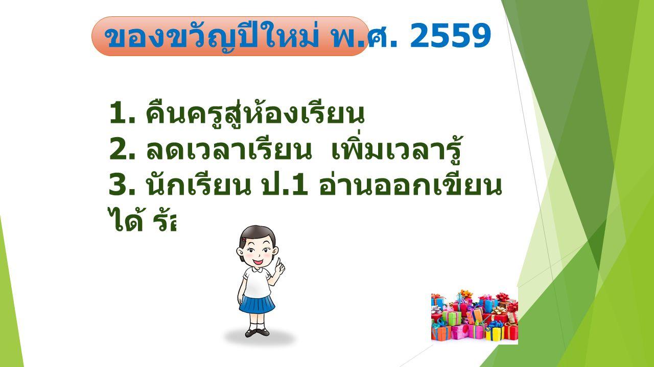 ของขวัญปีใหม่ พ.ศ. 2559 1. คืนครูสู่ห้องเรียน 2. ลดเวลาเรียน เพิ่มเวลารู้ 3.