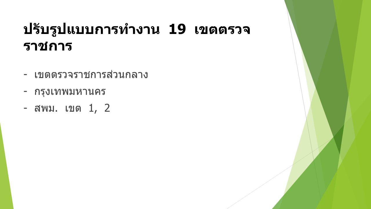 ปรับรูปแบบการทำงาน 19 เขตตรวจ ราชการ - เขตตรวจราชการส่วนกลาง - กรุงเทพมหานคร - สพม. เขต 1, 2