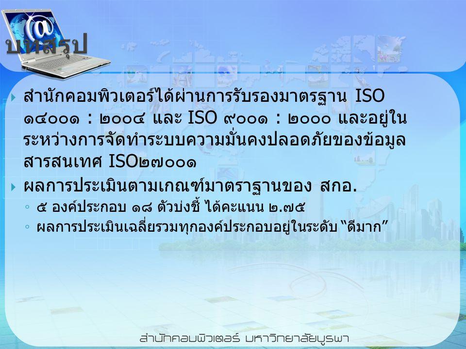 บทสรุป  สำนักคอมพิวเตอร์ได้ผ่านการรับรองมาตรฐาน ISO ๑๔๐๐๑ : ๒๐๐๔ และ ISO ๙๐๐๑ : ๒๐๐๐ และอยู่ใน ระหว่างการจัดทำระบบความมั่นคงปลอดภัยของข้อมูล สารสนเทศ ISO๒๗๐๐๑  ผลการประเมินตามเกณฑ์มาตราฐานของ สกอ.