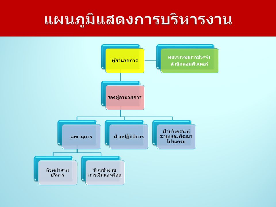 แผนภูมิแสดงการบริหารงาน ผู้อำนวยการรองผู้อำนวยการเลขานุการ หัวหน้างาน บริหาร หัวหน้างาน การเงินและพัสดุ ฝ่ายปฏิบัติการ ฝ่ายวิเคราะห์ ระบบและพัฒนา โปรแกรม คณะกรรมการประจำ สำนักคอมพิวเตอร์