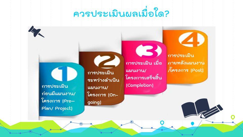 ควรประเมินผลเมื่อใด? การประเมิน ก่อนมีแผนงาน/ โครงการ (Pre– Plan/ Project) การประเมิน ระหว่างดำเนิน แผนงาน/ โครงการ (On- going) การประเมิน เมื่อ แผนงา