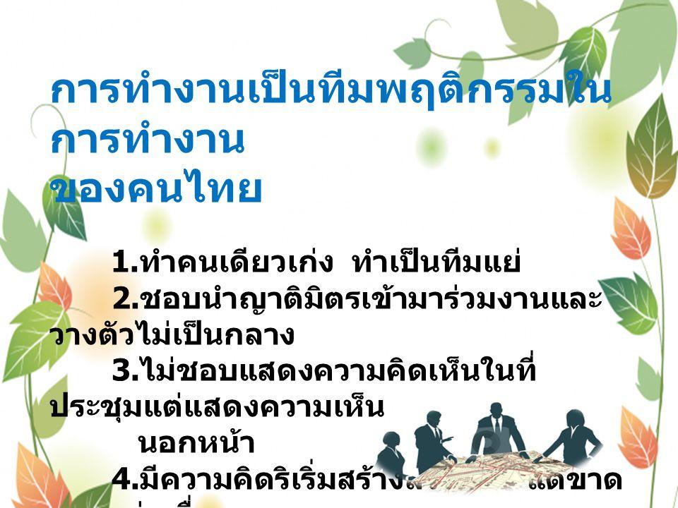 การทำงานเป็นทีมพฤติกรรมใน การทำงาน ของคนไทย 1. ทำคนเดียวเก่ง ทำเป็นทีมแย่ 2.
