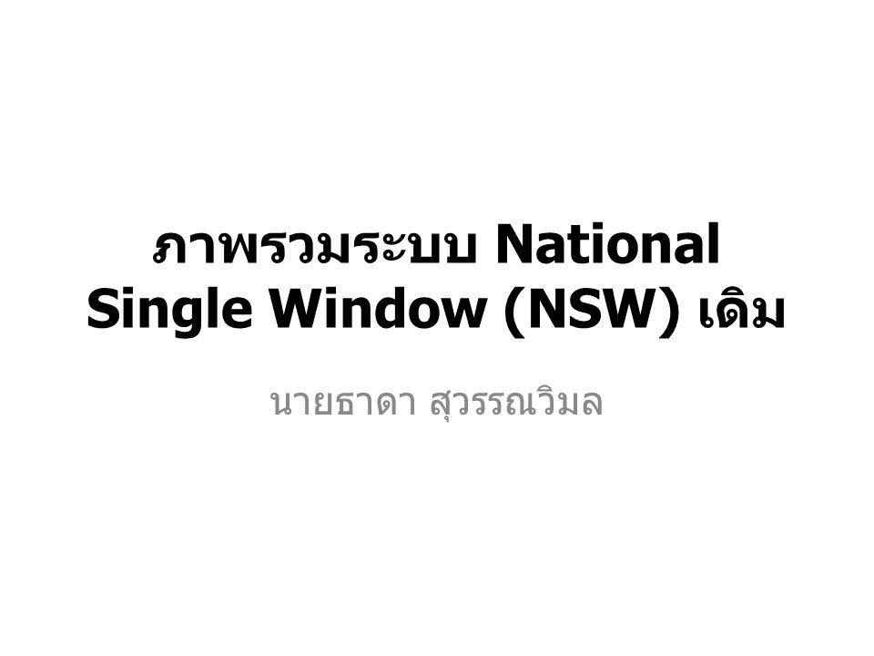 ภาพรวมระบบ National Single Window (NSW) เดิม นายธาดา สุวรรณวิมล