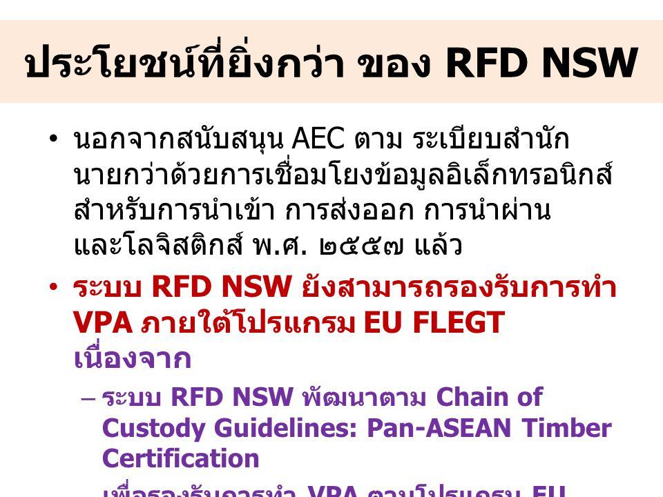 ประโยชน์ที่ยิ่งกว่า ของ RFD NSW นอกจากสนับสนุน AEC ตาม ระเบียบสำนัก นายกว่าด้วยการเชื่อมโยงข้อมูลอิเล็กทรอนิกส์ สำหรับการนำเข้า การส่งออก การนำผ่าน และโลจิสติกส์ พ.