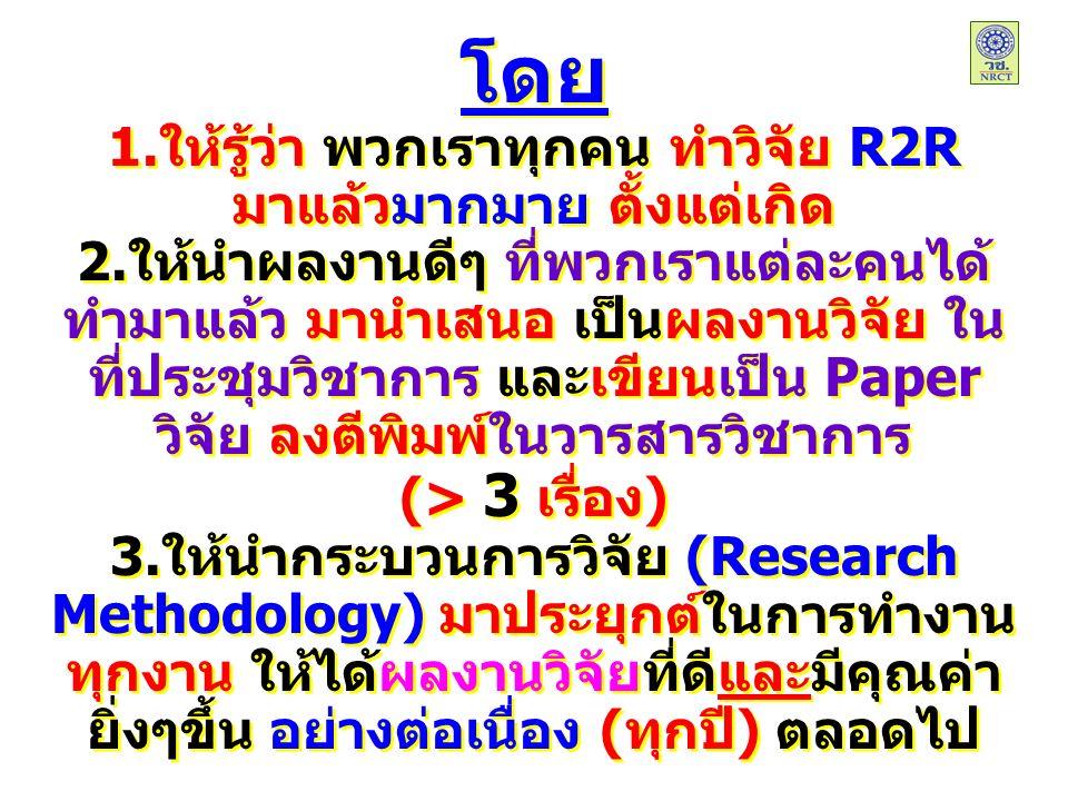 โดย 1.ให้รู้ว่า พวกเราทุกคน ทำวิจัย R2R มาแล้วมากมาย ตั้งแต่เกิด 2.ให้นำผลงานดีๆ ที่พวกเราแต่ละคนได้ ทำมาแล้ว มานำเสนอ เป็นผลงานวิจัย ใน ที่ประชุมวิชาการ และเขียนเป็น Paper วิจัย ลงตีพิมพ์ในวารสารวิชาการ (> 3 เรื่อง) 3.ให้นำกระบวนการวิจัย (Research Methodology) มาประยุกต์ในการทำงาน ทุกงาน ให้ได้ผลงานวิจัยที่ดีและมีคุณค่า ยิ่งๆขึ้น อย่างต่อเนื่อง (ทุกปี) ตลอดไป โดย 1.ให้รู้ว่า พวกเราทุกคน ทำวิจัย R2R มาแล้วมากมาย ตั้งแต่เกิด 2.ให้นำผลงานดีๆ ที่พวกเราแต่ละคนได้ ทำมาแล้ว มานำเสนอ เป็นผลงานวิจัย ใน ที่ประชุมวิชาการ และเขียนเป็น Paper วิจัย ลงตีพิมพ์ในวารสารวิชาการ (> 3 เรื่อง) 3.ให้นำกระบวนการวิจัย (Research Methodology) มาประยุกต์ในการทำงาน ทุกงาน ให้ได้ผลงานวิจัยที่ดีและมีคุณค่า ยิ่งๆขึ้น อย่างต่อเนื่อง (ทุกปี) ตลอดไป