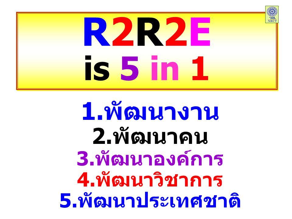 1.พัฒนางาน 2.พัฒนาคน 3.พัฒนาองค์การ 4.พัฒนาวิชาการ 5.พัฒนาประเทศชาติ R2R2E is 5 in 1 R2R2E is 5 in 1