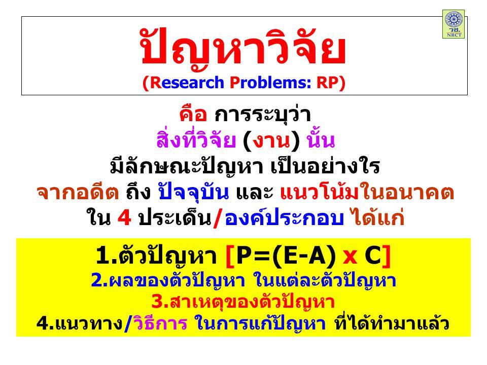 ปัญหาวิจัย (Research Problems: RP) คือ การระบุว่า สิ่งที่วิจัย (งาน) นั้น มีลักษณะปัญหา เป็นอย่างใร จากอดีต ถึง ปัจจุบัน และ แนวโน้มในอนาคต ใน 4 ประเด็น/องค์ประกอบ ได้แก่ 1.ตัวปัญหา [P=(E-A) x C] 2.ผลของตัวปัญหา ในแต่ละตัวปัญหา 3.สาเหตุของตัวปัญหา 4.แนวทาง/วิธีการ ในการแก้ปัญหา ที่ได้ทำมาแล้ว