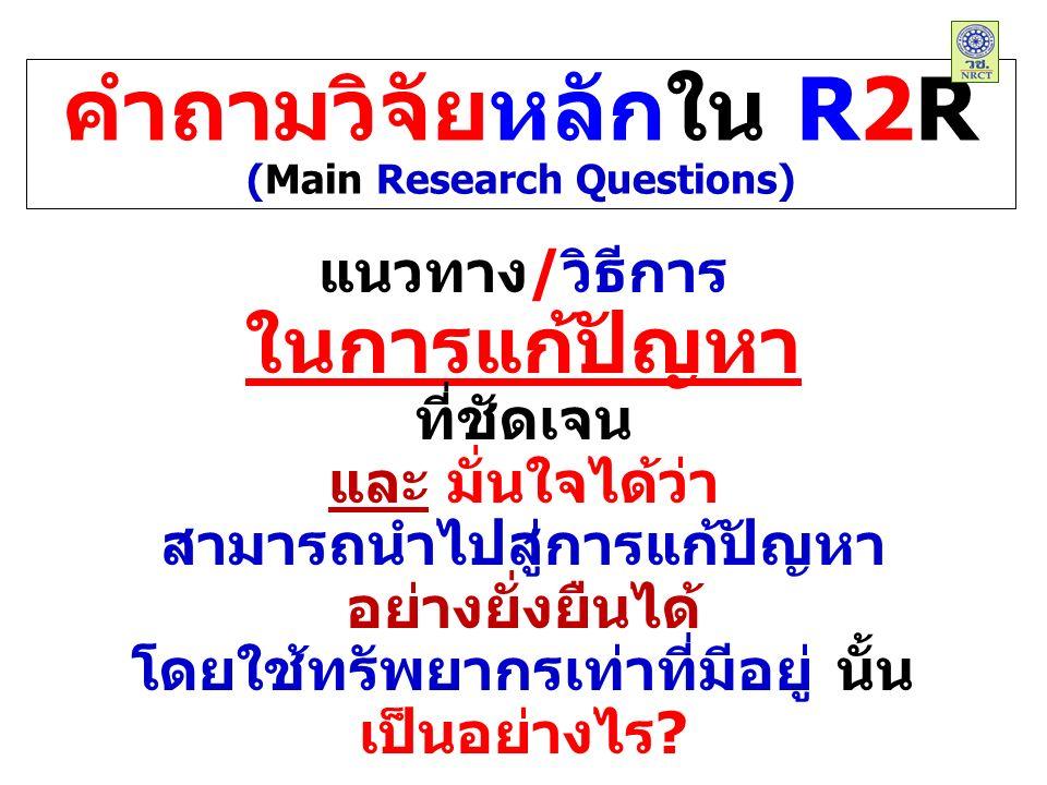 คำถามวิจัยหลักใน R2R (Main Research Questions) แนวทาง/วิธีการ ในการแก้ปัญหา ที่ชัดเจน และ มั่นใจได้ว่า สามารถนำไปสู่การแก้ปัญหา อย่างยั่งยืนได้ โดยใช้ทรัพยากรเท่าที่มีอยู่ นั้น เป็นอย่างไร