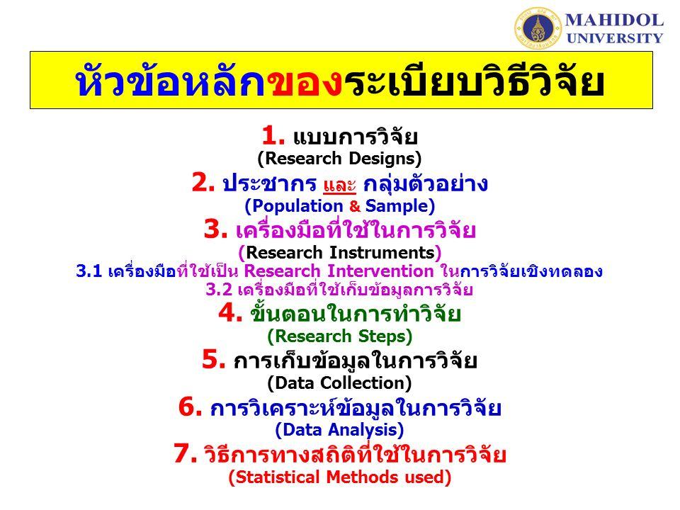 หัวข้อหลักของระเบียบวิธีวิจัย 1. แบบการวิจัย (Research Designs) 2.