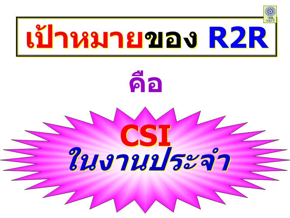 CSI ในงานประจำ CSI ในงานประจำ เป้าหมายของ R2R คือ