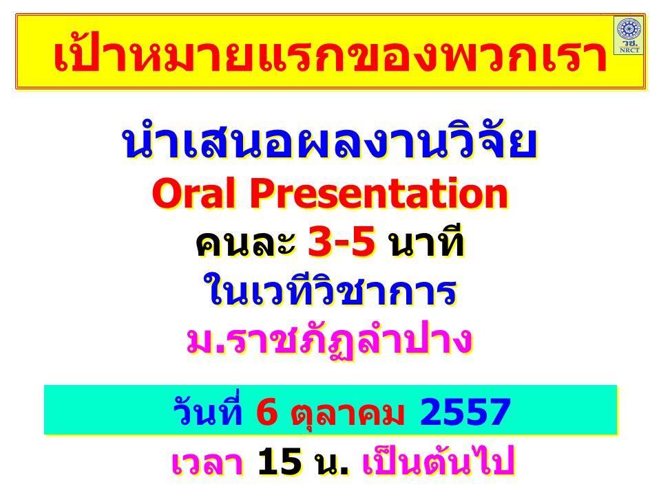 เป้าหมายแรกของพวกเรา นำเสนอผลงานวิจัย Oral Presentation คนละ 3-5 นาที ในเวทีวิชาการ ม.ราชภัฏลำปาง นำเสนอผลงานวิจัย Oral Presentation คนละ 3-5 นาที ในเวทีวิชาการ ม.ราชภัฏลำปาง วันที่ 6 ตุลาคม 2557 เวลา 15 น.