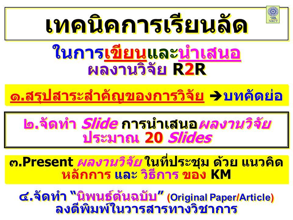 ในการเขียนและนำเสนอ ผลงานวิจัย R2R ในการเขียนและนำเสนอ ผลงานวิจัย R2R เทคนิคการเรียนลัด ๑.สรุปสาระสำคัญของการวิจัย  บทคัดย่อ ๔.