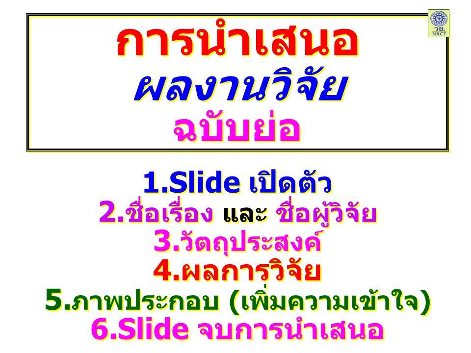 การนำเสนอ ผลงานวิจัย ฉบับย่อ การนำเสนอ ผลงานวิจัย ฉบับย่อ 1.Slide เปิดตัว 2.