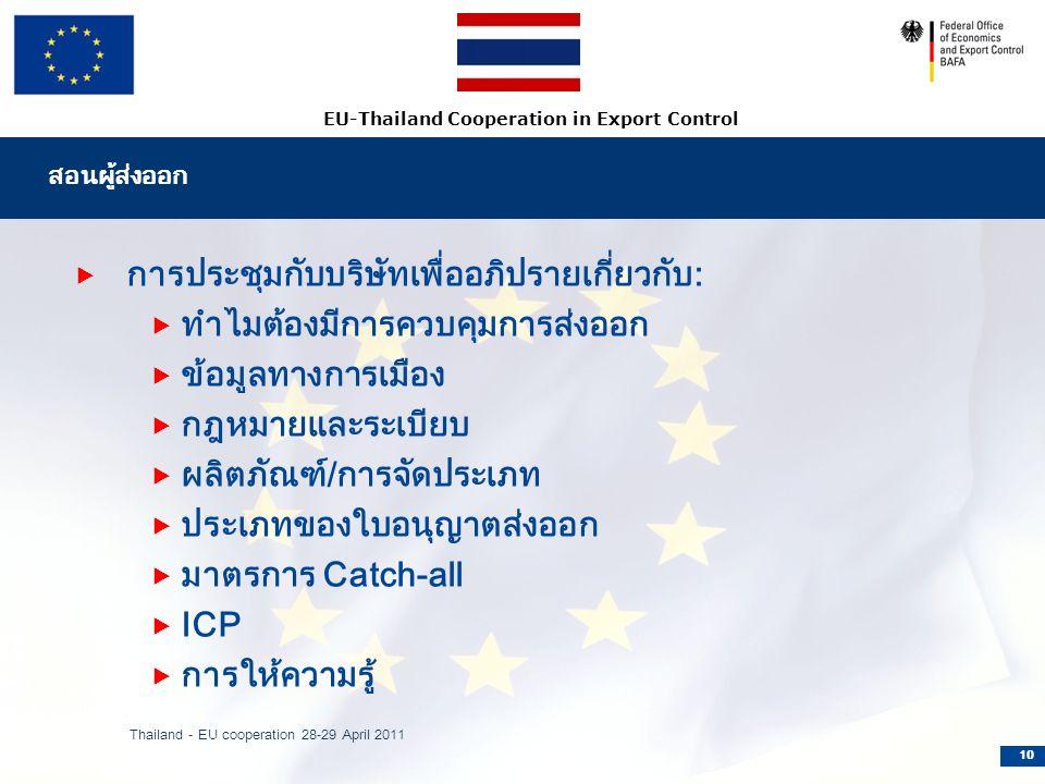 EU-Thailand Cooperation in Export Control สอนผู้ส่งออก  การประชุมกับบริษัทเพื่ออภิปรายเกี่ยวกับ:  ทำไมต้องมีการควบคุมการส่งออก  ข้อมูลทางการเมือง  กฎหมายและระเบียบ  ผลิตภัณฑ์/การจัดประเภท  ประเภทของใบอนุญาตส่งออก  มาตรการ Catch-all  ICP  การให้ความรู้ Thailand - EU cooperation 28-29 April 2011 10