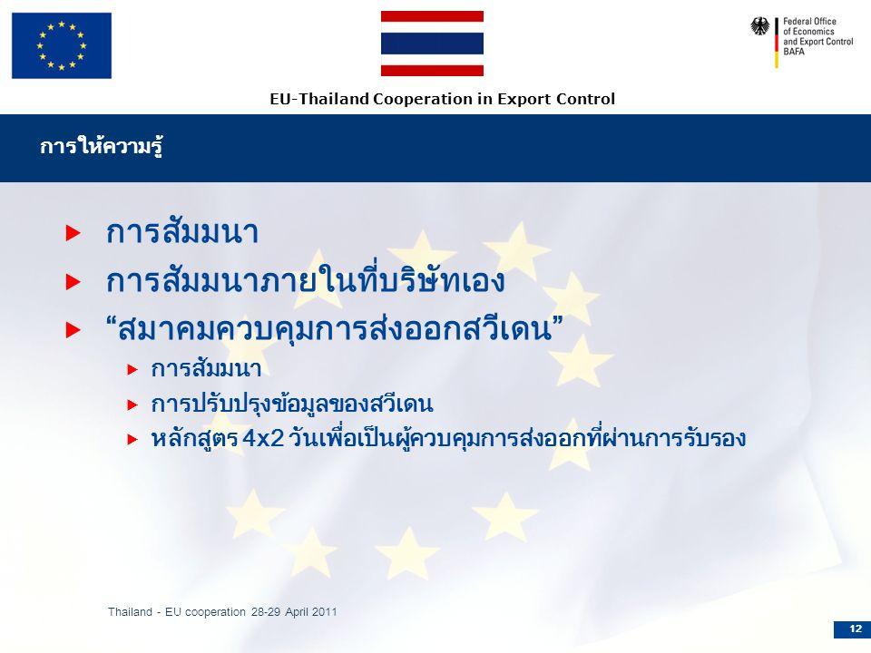 EU-Thailand Cooperation in Export Control การให้ความรู้  การสัมมนา  การสัมมนาภายในที่บริษัทเอง  สมาคมควบคุมการส่งออกสวีเดน  การสัมมนา  การปรับปรุงข้อมูลของสวีเดน  หลักสูตร 4x2 วันเพื่อเป็นผู้ควบคุมการส่งออกที่ผ่านการรับรอง Thailand - EU cooperation 28-29 April 2011 12