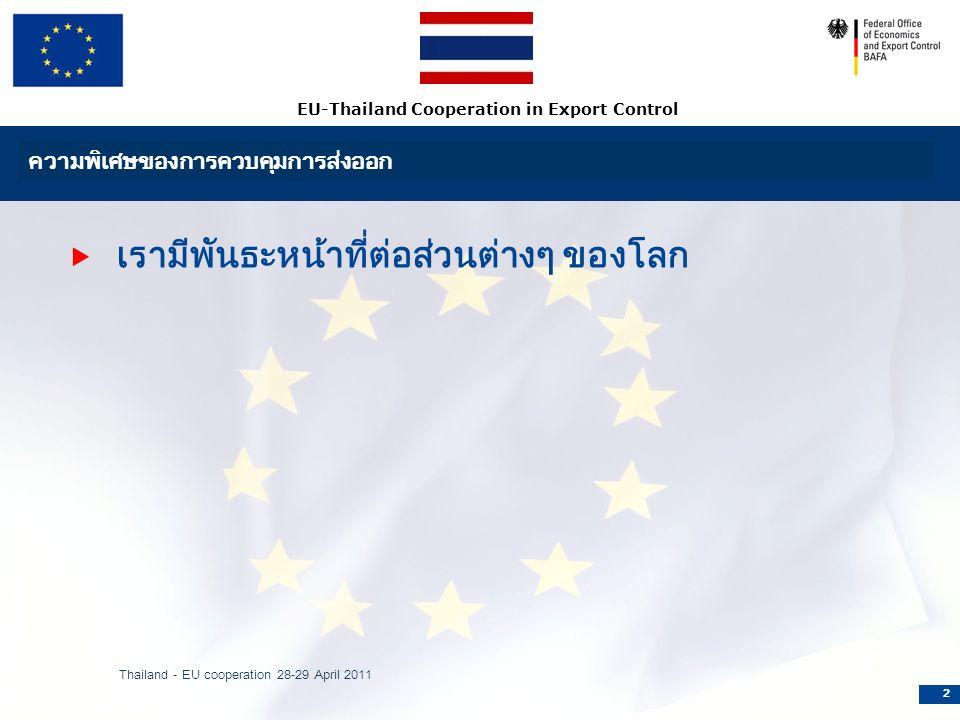 EU-Thailand Cooperation in Export Control ความพิเศษของการควบคุมการส่งออก  เรามีพันธะหน้าที่ต่อส่วนต่างๆ ของโลก Thailand - EU cooperation 28-29 April 2011 2