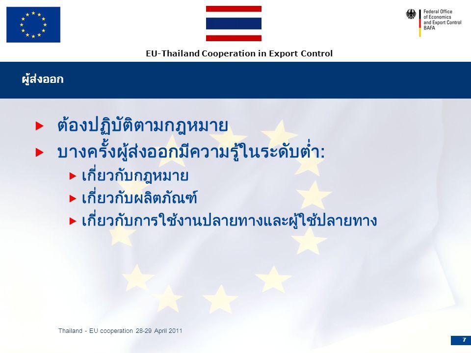 EU-Thailand Cooperation in Export Control ผู้ส่งออก  ต้องปฏิบัติตามกฎหมาย  บางครั้งผู้ส่งออกมีความรู้ในระดับต่ำ:  เกี่ยวกับกฎหมาย  เกี่ยวกับผลิตภัณฑ์  เกี่ยวกับการใช้งานปลายทางและผู้ใช้ปลายทาง Thailand - EU cooperation 28-29 April 2011 7