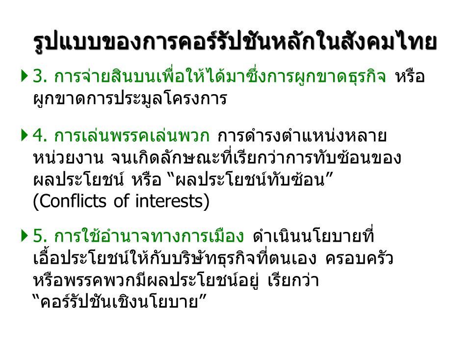 รูปแบบของการคอร์รัปชันหลักในสังคมไทย  3.