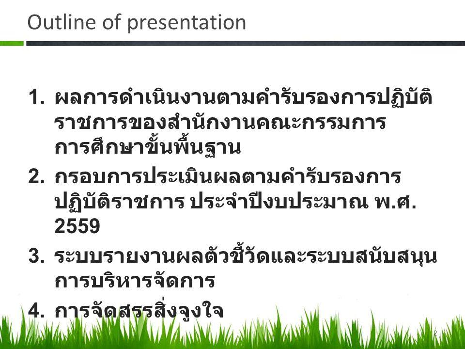 ผลการดำเนินงานตาม คำรับรองการปฏิบัติราชการ ของสำนักงานคณะกรรมการ การศึกษาขั้นพื้นฐาน 3 1