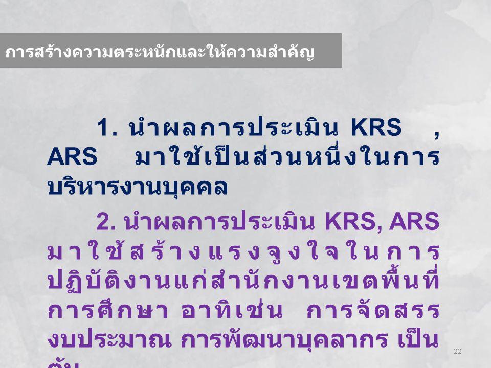 22 การสร้างความตระหนักและให้ความสำคัญ 1. นำผลการประเมิน KRS, ARS มาใช้เป็นส่วนหนึ่งในการ บริหารงานบุคคล 2. นำผลการประเมิน KRS, ARS มาใช้สร้างแรงจูงใจใ