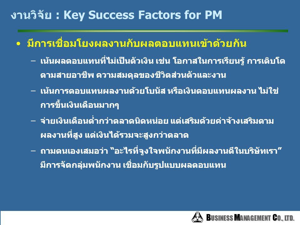 B USINESS M ANAGEMENT C O., LTD. B USINESS M ANAGEMENT C O., LTD. งานวิจัย : Key Success Factors for PM สร้างความสมดุลระหว่าง ตัวชี้วัดผลงาน และการพัฒ