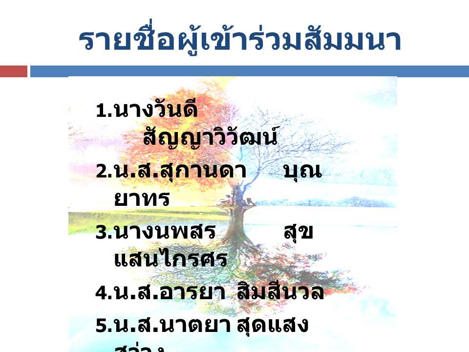 รายชื่อผู้เข้าร่วมสัมมนา  นางวันดี สัญญาวิวัฒน์  น. ส. สุกานดา บุณ ยาทร  นางนพสรสุข แสนไกรศร  น. ส. อารยาสิมสีนวล  น. ส. นาตยาสุดแสง สว่าง