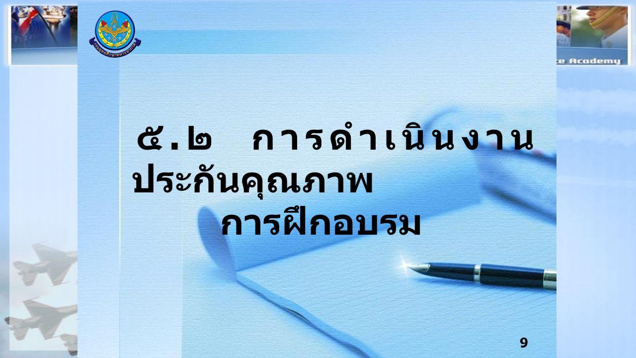 9 ๕. ๒ การดำเนินงาน ประกันคุณภาพ การฝึกอบรม