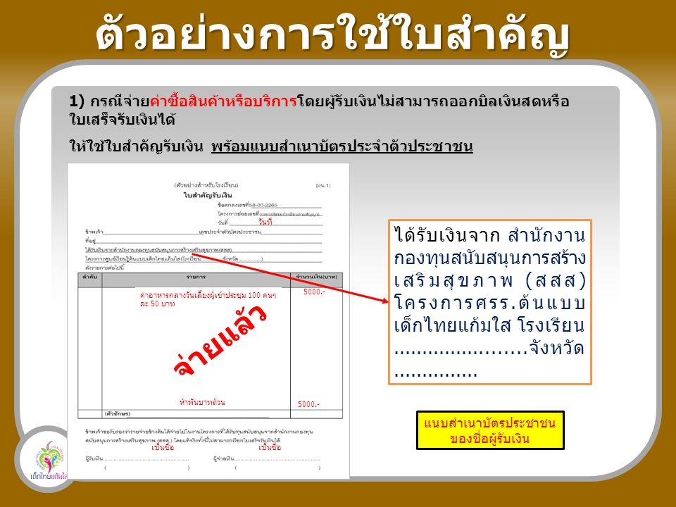ตัวอย่างการใช้ใบสำคัญ 1) กรณีจ่ายค่าซื้อสินค้าหรือบริการโดยผู้รับเงินไม่สามารถออกบิลเงินสดหรือ ใบเสร็จรับเงินได้ ให้ใช้ใบสำคัญรับเงิน พร้อมแนบสำเนาบัตรประจำตัวประชาชน ได้รับเงินจาก สำนักงาน กองทุนสนับสนุนการสร้าง เสริมสุขภาพ (สสส) โครงการศรร.ต้นแบบ เด็กไทยแก้มใส โรงเรียน.......................จังหวัด...............