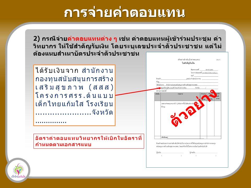 การจ่ายค่าตอบแทน 2) กรณีจ่ายค่าตอบแทนต่าง ๆ เช่น ค่าตอบแทนผู้เข้าร่วมประชุม ค่า วิทยากร ให้ใช้สำคัญรับเงิน โดยระบุเลขประจำตัวประชาชน แต่ไม่ ต้องแนบสำเนาบัตรประจำตัวประชาชน ได้รับเงินจาก สำนักงาน กองทุนสนับสนุนการสร้าง เสริมสุขภาพ (สสส) โครงการศรร.ต้นแบบ เด็กไทยแก้มใส โรงเรียน.......................จังหวัด...............