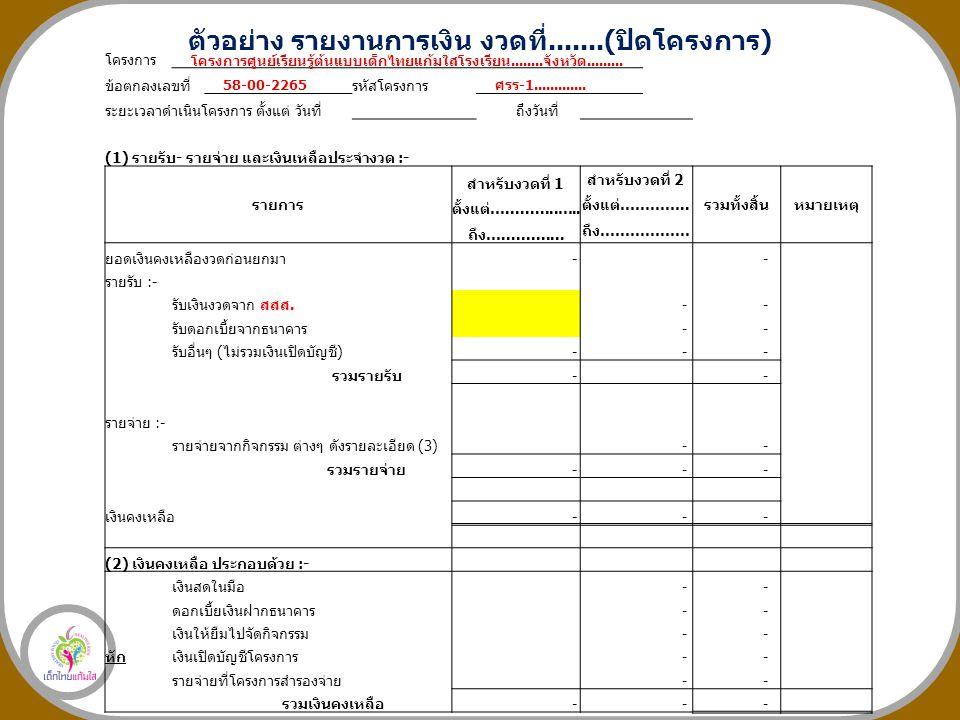ตัวอย่าง รายงานการเงิน งวดที่.......(ปิดโครงการ) โครงการ ข้อตกลงเลขที่ รหัสโครงการ ระยะเวลาดำเนินโครงการ ตั้งแต่ วันที่ ถึงวันที่ (1) รายรับ- รายจ่าย และเงินเหลือประจำงวด :- รายการ สำหรับงวดที่ 1 สำหรับงวดที่ 2 รวมทั้งสิ้นหมายเหตุ ตั้งแต่…...........…..