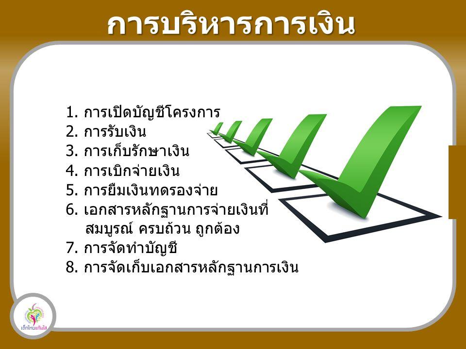 การบริหารการเงิน 1. การเปิดบัญชีโครงการ 2. การรับเงิน 3.