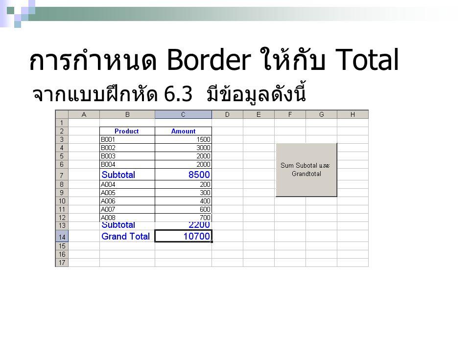 การกำหนด Border ให้กับ Total จากแบบฝึกหัด 6.3 มีข้อมูลดังนี้