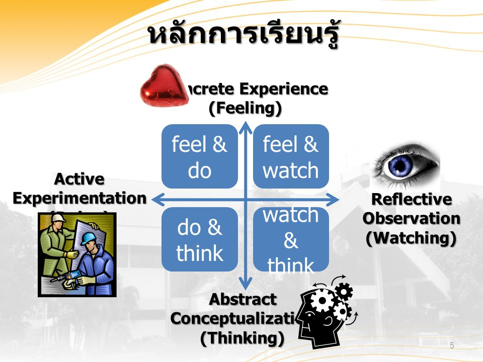 Concrete Experience (Feeling) Abstract Conceptualization (Thinking) Active Experimentation (Doing) Reflective Observation (Watching) feel & watch watch & think do & think feel & do หลักการเรียนรู้ 5