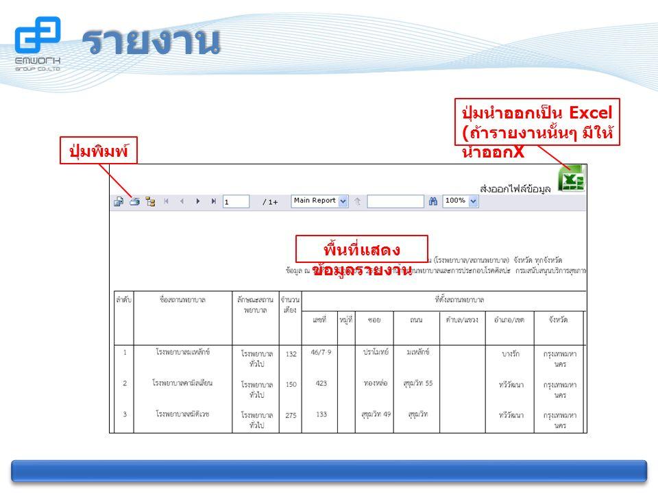 รายงาน ปุ่มนำออกเป็น Excel ( ถ้ารายงานนั้นๆ มีให้ นำออก X ปุ่มพิมพ์ พื้นที่แสดง ข้อมูลรายงาน