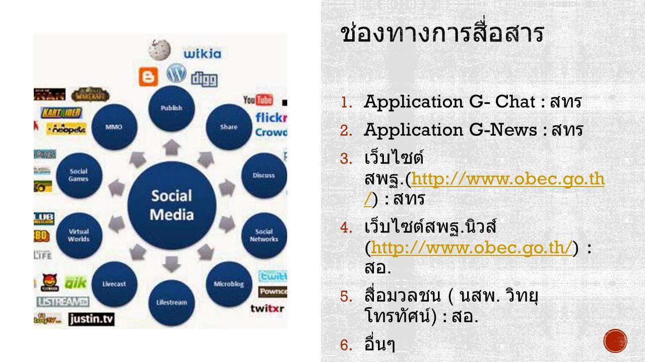1. Application G- Chat : สทร 2. Application G-News : สทร 3. เว็บไซต์ สพฐ.(http://www.obec.go.th /) : สทรhttp://www.obec.go.th / 4. เว็บไซต์สพฐ. นิวส์