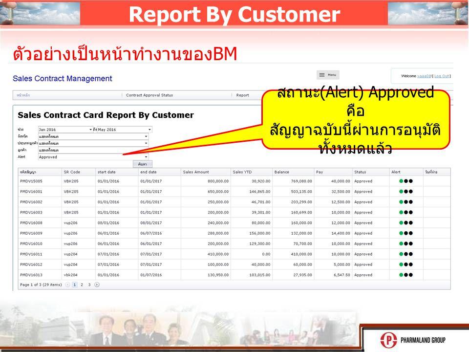 Report By Customer สถานะ (Alert) Approved คือ สัญญาฉบับนี้ผ่านการอนุมัติ ทั้งหมดแล้ว ตัวอย่างเป็นหน้าทำงานของ BM