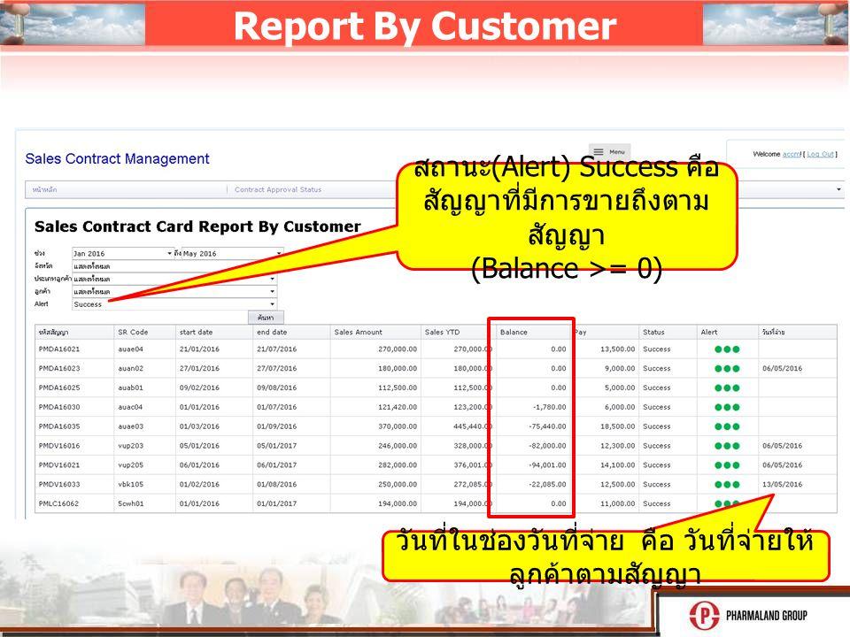 Report By Customer รายงานมี 2 แบบ สถานะ (Alert) Success คือ สัญญาที่มีการขายถึงตาม สัญญา (Balance >= 0) วันที่ในช่องวันที่จ่าย คือ วันที่จ่ายให้ ลูกค้าตามสัญญา