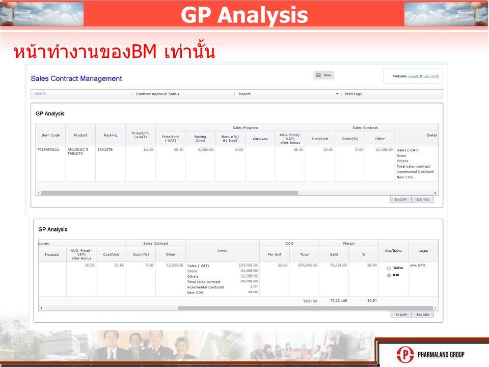 GP Analysis หน้าทำงานของ BM เท่านั้น